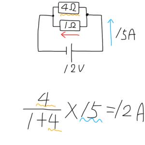 並列接続された抵抗の電流値(分流)